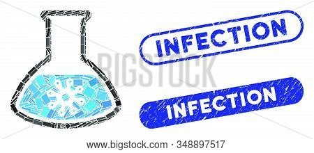 Mosaic infection retort and distressed stamp seals with Infection text. Mosaic vector infection retort is created with randomized rectangle items. Infection seals use blue color, stock photo