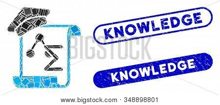 Mosaic knowledge manuscript and rubber stamp seals with Knowledge caption. Mosaic vector knowledge manuscript is formed with scattered rectangle items. Knowledge stamp seals use blue color, stock photo