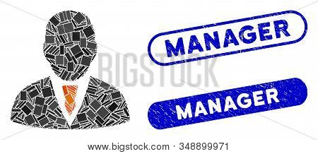 Mosaic manager and rubber stamp watermarks with Manager text. Mosaic vector manager is composed with random rectangle items. Manager stamp seals use blue color, and have round rectangle shape. stock photo