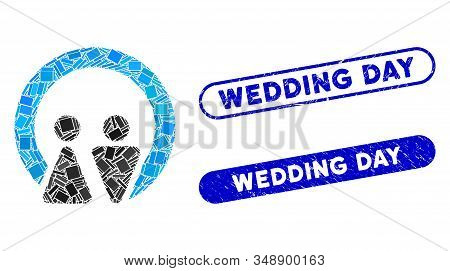 Mosaic marriage and distressed stamp seals with Wedding Day caption. Mosaic vector marriage is created with scattered rectangles. Wedding Day stamp seals use blue color, stock photo