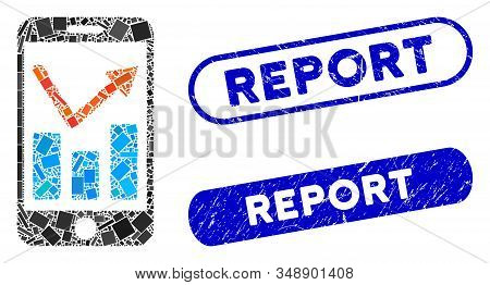 Mosaic mobile report and corroded stamp seals with Report caption. Mosaic vector mobile report is designed with randomized rectangle items. Report stamp seals use blue color, stock photo
