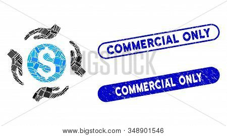 Mosaic money care hands and rubber stamp seals with Commercial Only caption. Mosaic vector money care hands is created with random rectangle items. Commercial Only stamp seals use blue color, stock photo