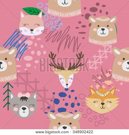 Autumn forest seamless pattern with cute animals. stock photo