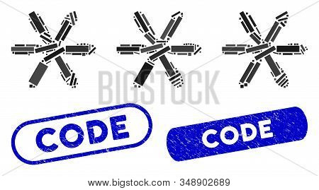 Mosaic password code and corroded stamp seals with Code phrase. Mosaic vector password code is created with scattered rectangles. Code stamp seals use blue color, and have round rectangle shape. stock photo