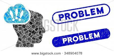 Mosaic problem brainstorm and corroded stamp watermarks with Problem text. Mosaic vector problem brainstorm is designed with scattered rectangle items. Problem stamp seals use blue color, stock photo