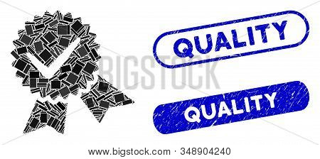 Mosaic quality and corroded stamp seals with Quality phrase. Mosaic vector quality is created with scattered rectangle items. Quality seals use blue color, and have round rectangle shape. stock photo