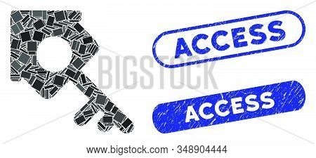 Mosaic realty access and rubber stamp seals with Access text. Mosaic vector realty access is created with randomized rectangle items. Access seals use blue color, and have round rectangle shape. stock photo
