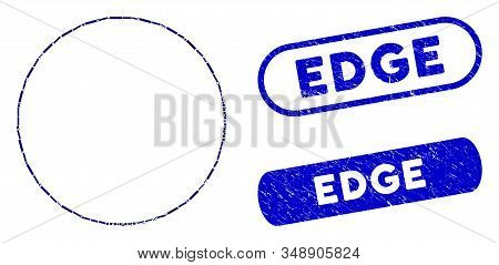 Mosaic round frame and corroded stamp seals with Edge phrase. Mosaic vector round frame is formed with randomized rectangle items. Edge stamp seals use blue color, and have round rectangle shape. stock photo