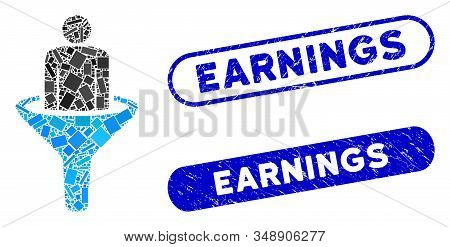 Mosaic sales funnel and grunge stamp seals with Earnings caption. Mosaic vector sales funnel is formed with randomized rectangle items. Earnings stamp seals use blue color, stock photo