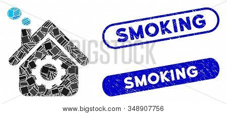 Mosaic smoking factory and rubber stamp watermarks with Smoking phrase. Mosaic vector smoking factory is composed with scattered rectangle items. Smoking stamps use blue color, stock photo