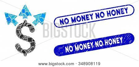 Mosaic split payment and distressed stamp seals with No Money No Honey caption. Mosaic vector split payment is composed with random rectangles. No Money No Honey stamp seals use blue color, stock photo