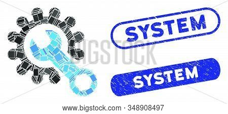 Mosaic system tools and rubber stamp seals with System text. Mosaic vector system tools is composed with randomized rectangle items. System stamp seals use blue color, and have round rectangle shape. stock photo