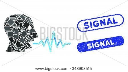 Mosaic talking user signal and rubber stamp seals with Signal phrase. Mosaic vector talking user signal is designed with random rectangle items. Signal stamp seals use blue color, stock photo