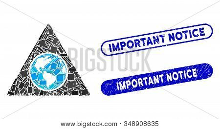 Mosaic terra triangle and rubber stamp seals with Important Notice phrase. Mosaic vector terra triangle is composed with scattered rectangle items. Important Notice stamp seals use blue color, stock photo