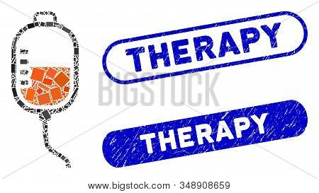 Collage therapy dropper and distressed stamp seals with Therapy phrase. Mosaic vector therapy dropper is designed with random rectangles. Therapy stamp seals use blue color, stock photo