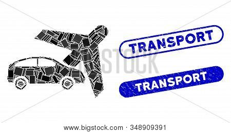 Mosaic transport and distressed stamp seals with Transport phrase. Mosaic vector transport is designed with random rectangle items. Transport seals use blue color, and have round rectangle shape. stock photo