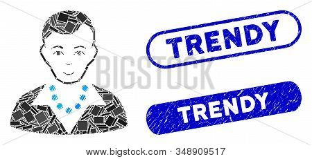 Mosaic trendy guy and distressed stamp seals with Trendy phrase. Mosaic vector trendy guy is composed with scattered rectangles. Trendy stamp seals use blue color, and have round rectangle shape. stock photo