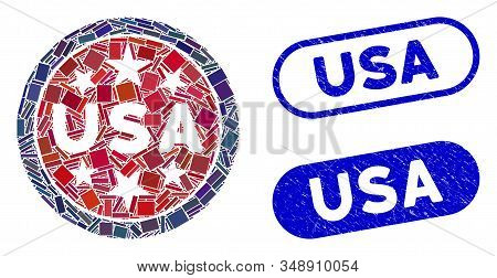 Mosaic USA stars symbol and rubber stamp seals with USA text. Mosaic vector USA stars symbol is formed with randomized rectangle items. USA stamp seals use blue color, and have round rectangle shape. stock photo