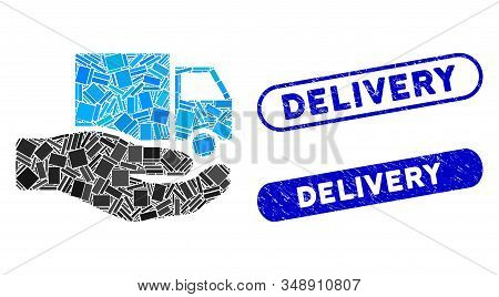 Mosaic van delivery service hand and distressed stamp seals with Delivery text. Mosaic vector van delivery service hand is formed with randomized rectangle items. Delivery seals use blue color, stock photo