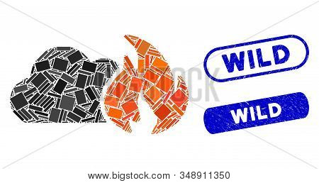Mosaic wild fire and rubber stamp seals with Wild caption. Mosaic vector wild fire is formed with scattered rectangle items. Wild seals use blue color, and have round rectangle shape. stock photo
