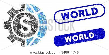 Mosaic world industry finances and grunge stamp seals with World phrase. Mosaic vector world industry finances is designed with scattered rectangle items. World stamp seals use blue color, stock photo