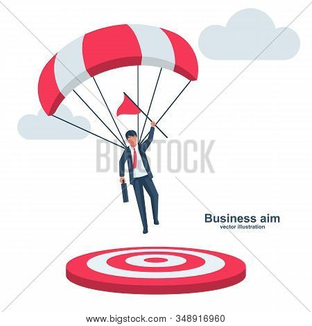 Businessman on a parachute with a flag lands on target. Symbol champion. Achieve business goal, concept. Vector illustration flat design. Smart solution to achieve mission. Aiming direction victory. stock photo