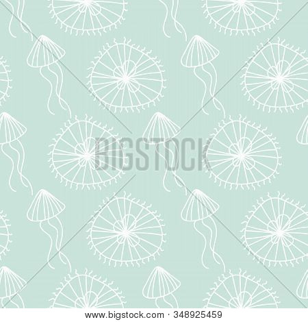 A seamless vector pattern with white doodle jellifish on a pastel aqua blue background. Ocean themed simple minimal surface print design. Great gfor minimal relaxing packaging, gift wrap and stationery. stock photo