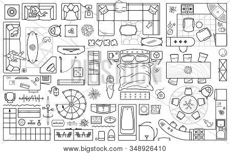 Floor plan icons set for design interior and architectural project (view from above). Furniture thin line icon in top view for layout. Blueprint apartment. Vector stock photo