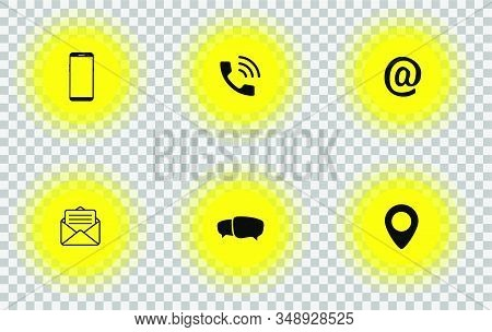 Contact Us. Contact information icons. Web icons set. Contact Media Icon Set. Vector illustration stock photo
