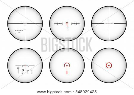 Target and aim. Pack of sniper rifle aims isolated stock photo