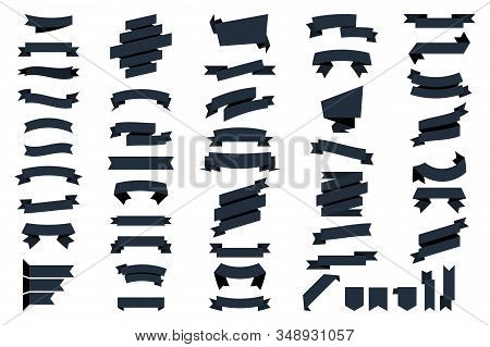 Black Web ribbons banners isolated on white background. Vector Collection isolated Ribbons Banners. Ribbon and Banners. Glyph ribbon banner. Set of black tape stock photo