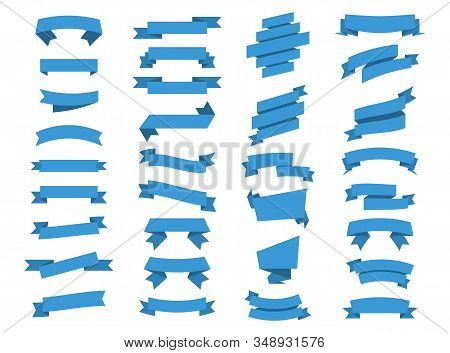 Blue Ribbons Banners. Ribbon and Banners. Set of Vector banner Ribbons. Illustration set of blue tape. Vector Collection isolated Ribbons Banners stock photo