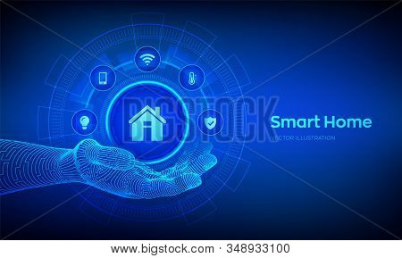 Smart home icon in robotic hand. Automation control system concept. Futuristic interface of smart home automation assistant on a virtual screen. Vector illustration. stock photo