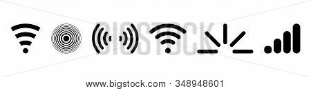 Signal set vector icons. Radio signals waves and light rays, radar, wifi, antenna and satellite signal symbols. Wireless technologys. Vector illustration. stock photo