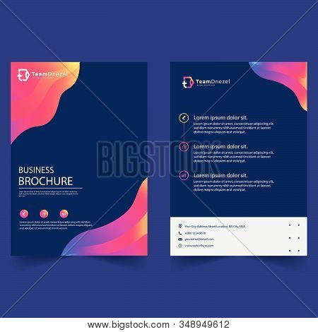 Brochure creative design. Multipurpose template with cover, back and inside pages. Trendy minimalist flat geometric design. Vertical a4 format stock photo