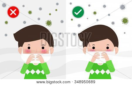 wearing the correct and wrong dust mask vector health care concept, How to wear surgical mask to protect fine dust PM 2.5 and China corona virus. Medical information banner flat style design stock photo