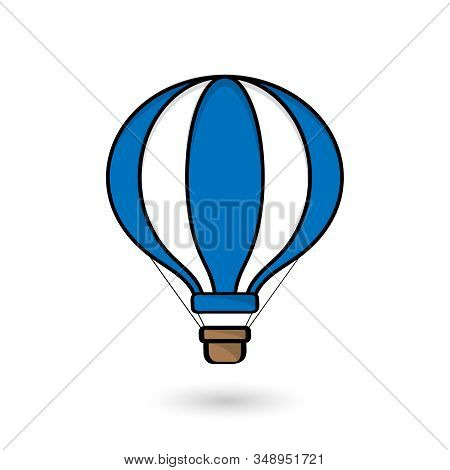 Vector illustration of hot air balloon in blue and white color on white background. Flat cartoon design. Concept for travel agency, motivation, adventure, discovery, journey, adventure. stock photo
