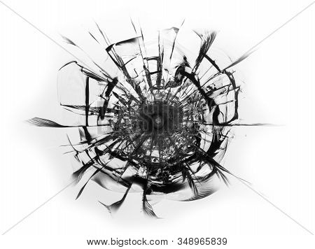 Cracked glass broken window on white background. Texture of broken windscreen. stock photo