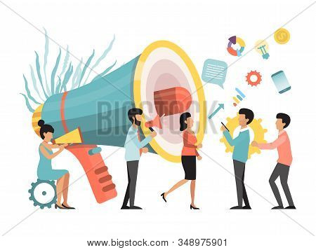 People with megaphone making announcement business promotion, advertising, call through the horn, online alerting vector illustration stock photo