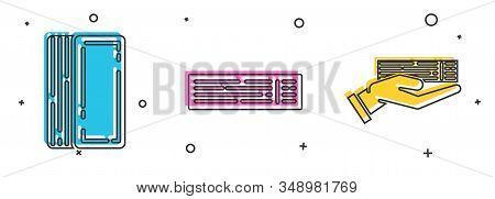 Set Deck of playing cards, Deck of playing cards and Hand holding deck of playing cards icon. Vector stock photo