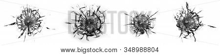 Set of cracks and chips of broken glass on white background. Collage abstraction with cracked window texture. stock photo