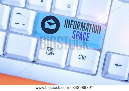 Conceptual hand writing showing Information Space. Business photo showcasing place especially a website where information is available. stock photo