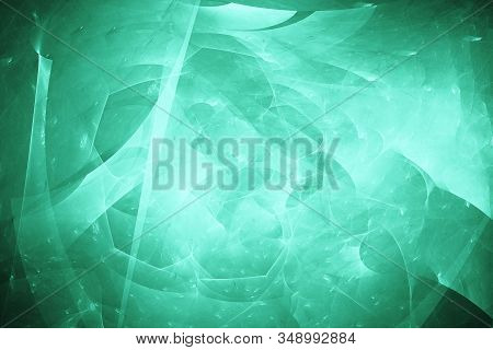 Abstract fractal art background illustration space geometry. Background consists fractal multicolor texture and suitable for use in projects imagination, creativity and design.Modern trend color 2020-Aqua Menthe stock photo
