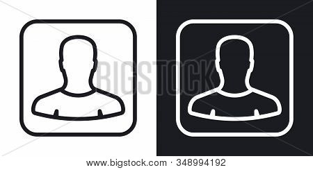 Contacts or address book app icon for smartphone, tablet, laptop or other smart device with mobile interface. Minimalistic two-tone version on black and white background stock photo