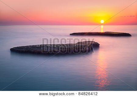 Beautiful colorful sunset over sea, Lebanon, Mediterranean sea, amazing landscape, calm evening seas