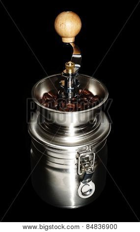 Fresh coffee beans on a black background stock photo