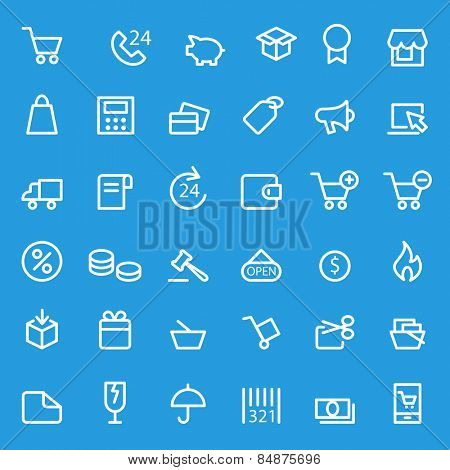 Shopping icons, simple and thin line design stock photo