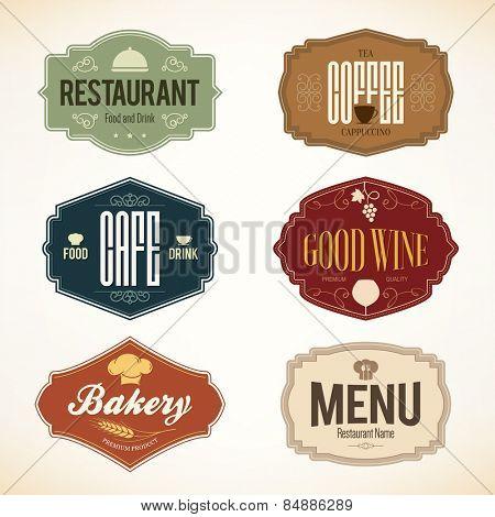 Label and logo set for restaurant menu design stock photo