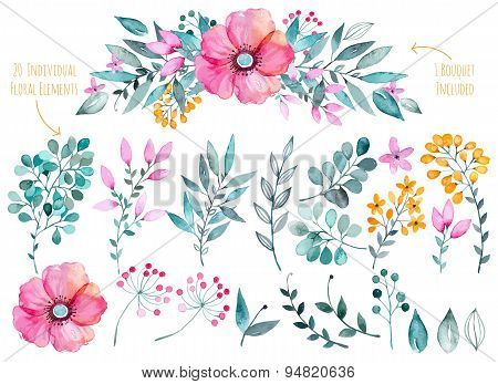 Vector floral set.Colorful purple floral collection with leaves and flowers,drawing watercolor