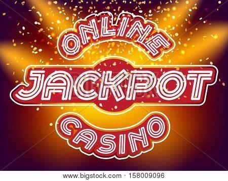 Online casino jackpot lettering. Neon Light Alphabet Vector Font. Neon tube letters on the gold money fall and lightspot background stock photo